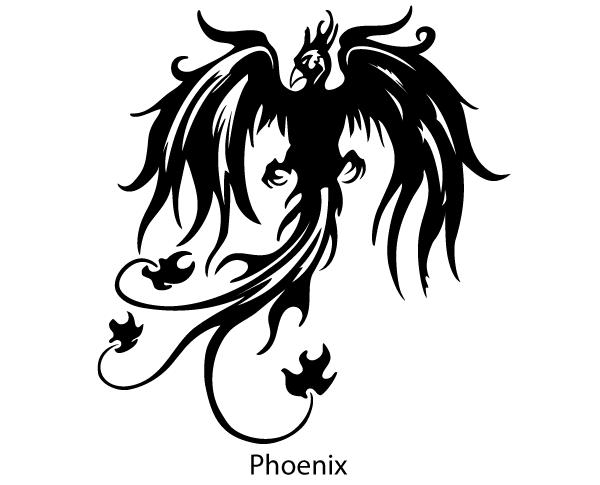 Phoenix Bird Vector Silhouette Free.