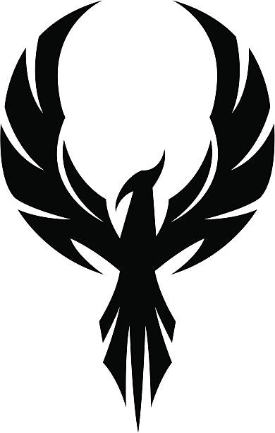 Silhouette Of The Phoenix Wings Tattoo Clip Art, Vector Images.