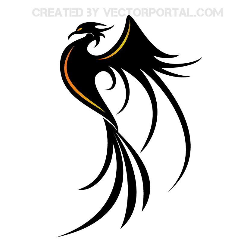 Stylish Phoenix Bird Silhouette.