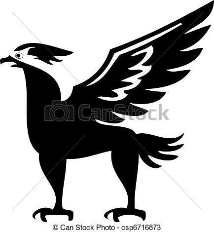 Vectors of Phoenix bird silhouette with big wings csp6716873.
