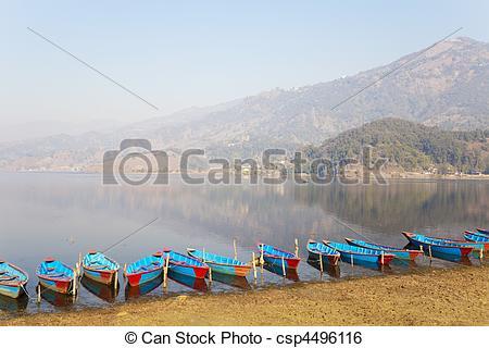Stock Image of Lake Phewa, Pokhara, Nepal.