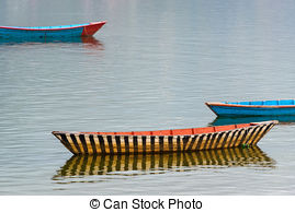 Picture of Small boats on Phewa Lake in Pokhara.