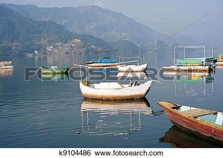 Stock Images of Phewa Lake in Pokhara, Nepal. k9104486.
