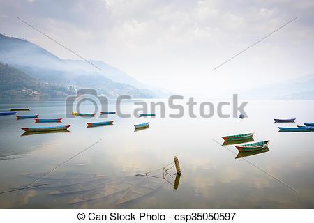 Stock Photographs of Phewa lake in Pokhara, Nepal.