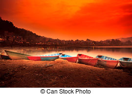 Stock Photography of Beautiful sunrise landscape from boat view on.
