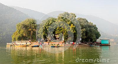 Tal Barahi Temple Of Phewa Lake Pokhara,Nepal Editorial Stock.