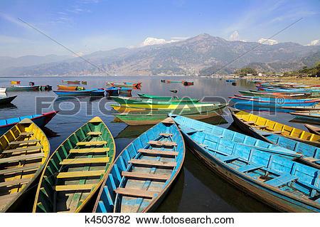 Stock Photo of Lake Phewa, Pokhara, Nepal k4503782.