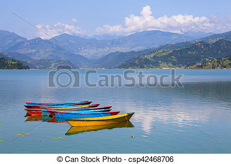 Stock Photography of Lake Phewa in Pokhara, Nepal, with the.