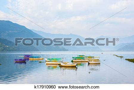 Stock Photography of Phewa Lake in Pokhara k17910960.
