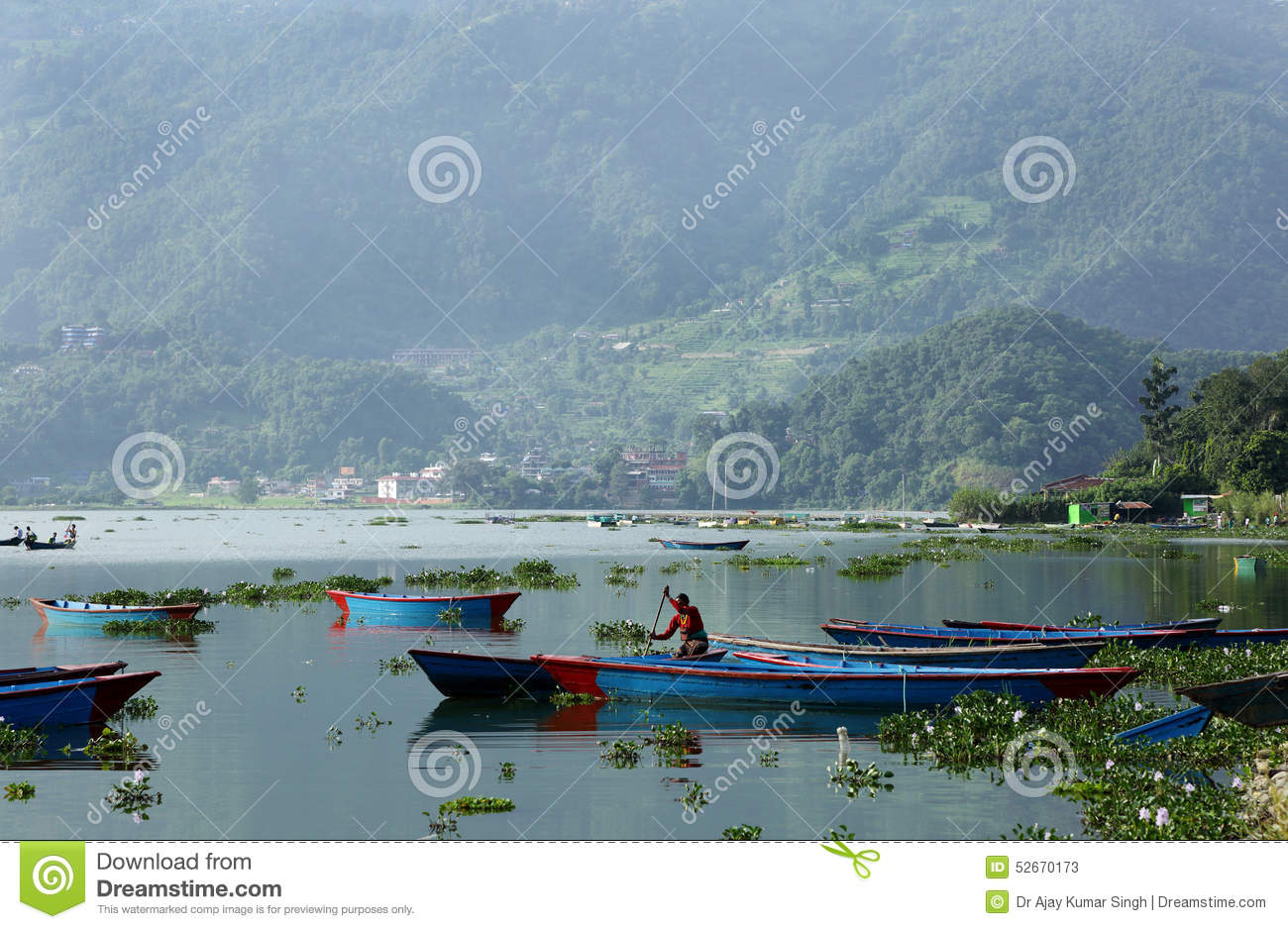 Phewa Lake Is The Second Largest Lake In Nepal Stock Photo.