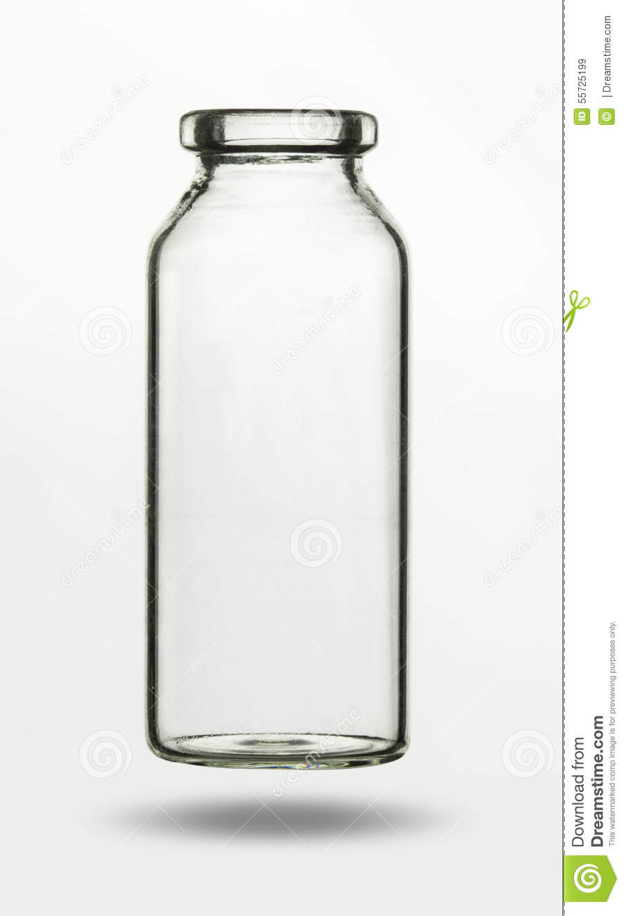 Empty Glass Vial For Chemical Or Medical Substance Stock Photo.