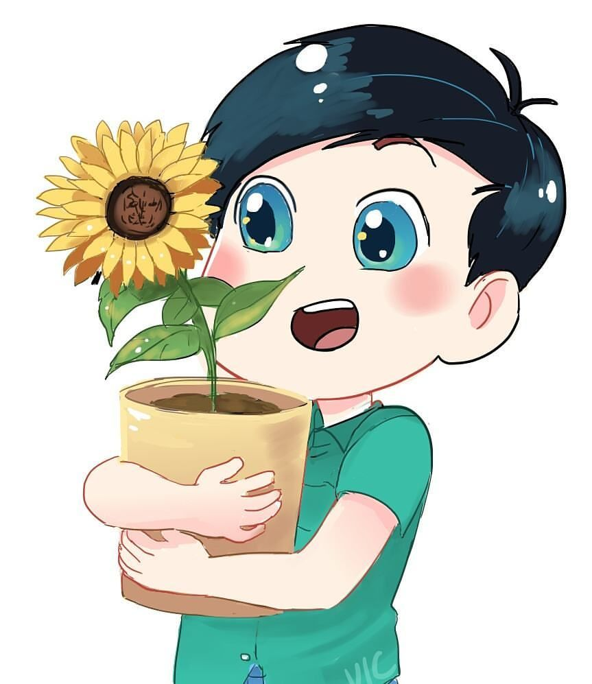Last new sticker design~ tiny Phil holding a big sunflower.