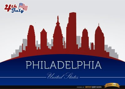 Philadelphia skyline on July 4th commemoration, Clip Art.