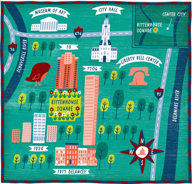 Philadelphia illustrated Map for The Wall Street Journal by Nate.