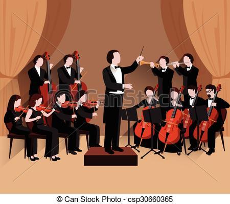 Clip Art Vector of Symphonic Orchestra Flat.