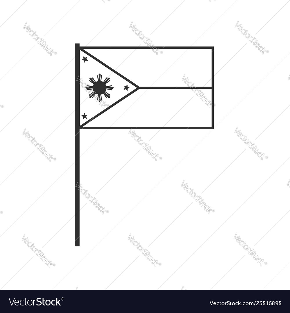 Philippines flag icon in black outline flat design.
