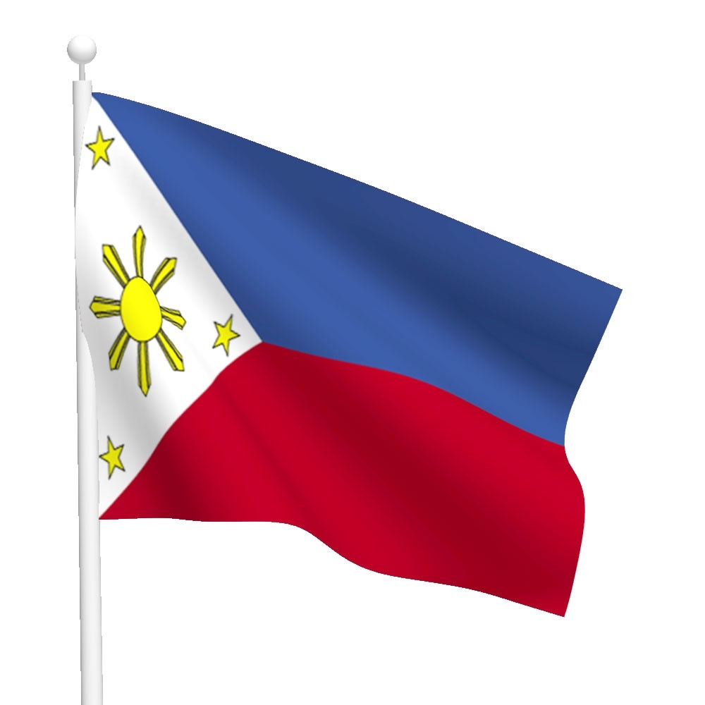 Philippine flag hanging in a flag pole clipart.