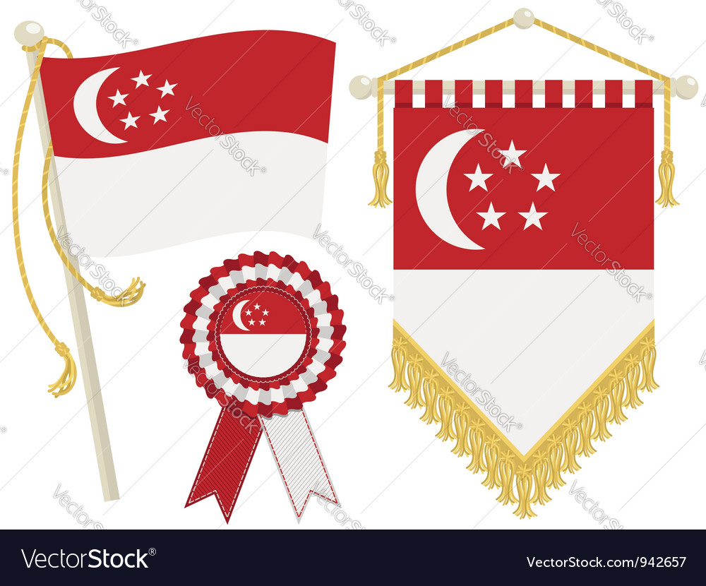 Singapore flags Vector Image by mattasbestos.