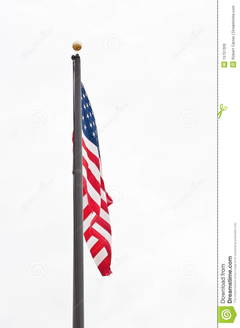 Waving American Flag Hanging On A Pole Clipart.