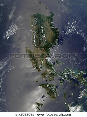 Stock Images of Satellite image of the Philippine island of Luzon.