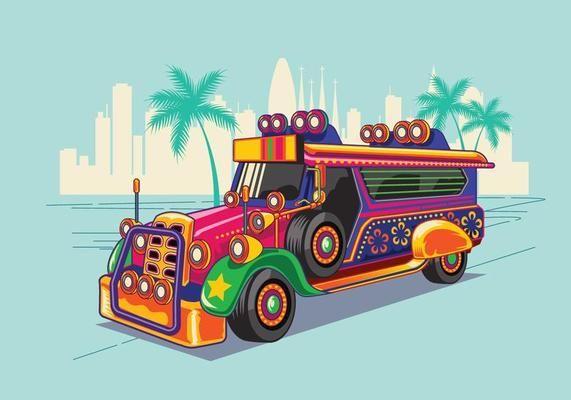 Philippine Jeep vector Illustration or Jeepney.
