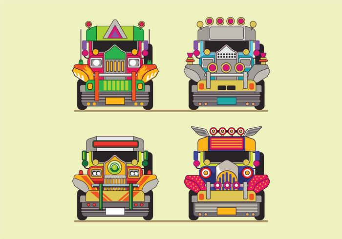 Philippine Jeep Icon or Jeepney Front View.
