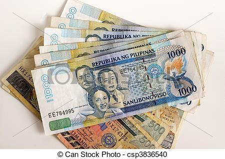 Stock Photography of Philippine Currency on a white background.