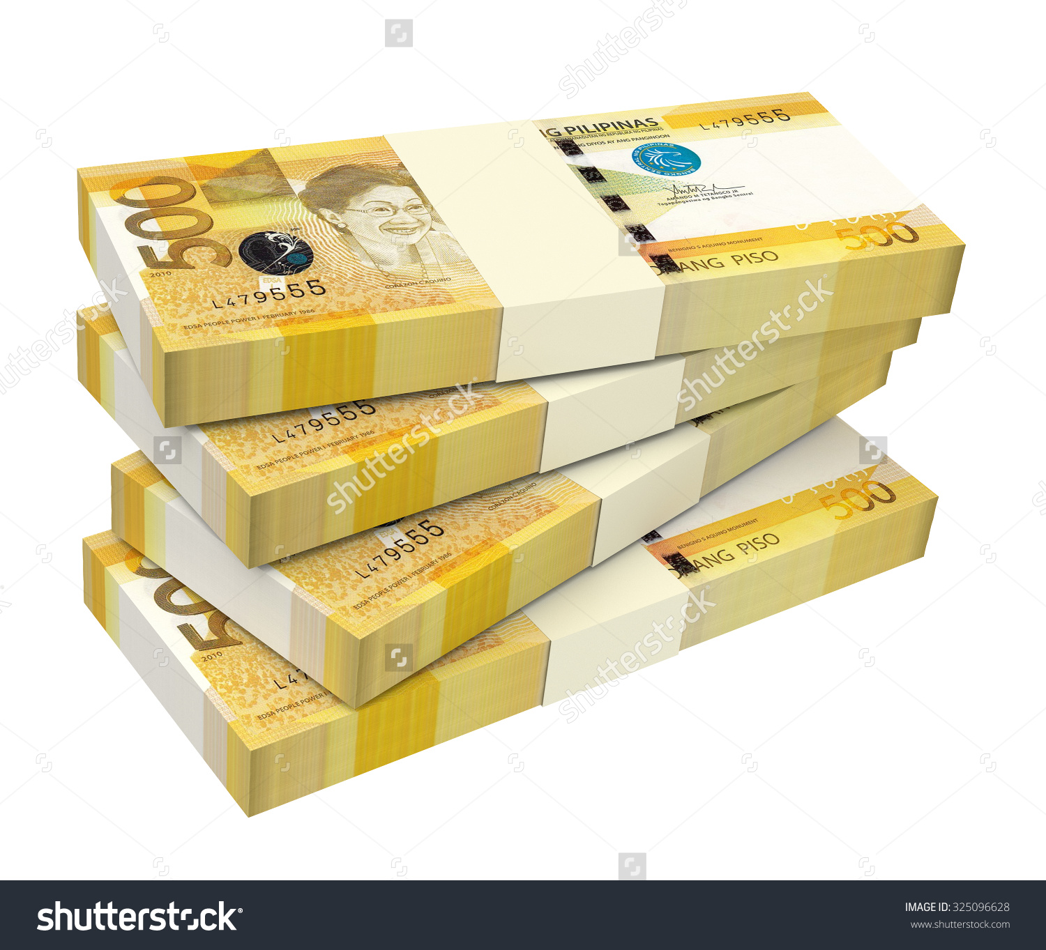 Philippines Money Isolated On White Background Stock Illustration.