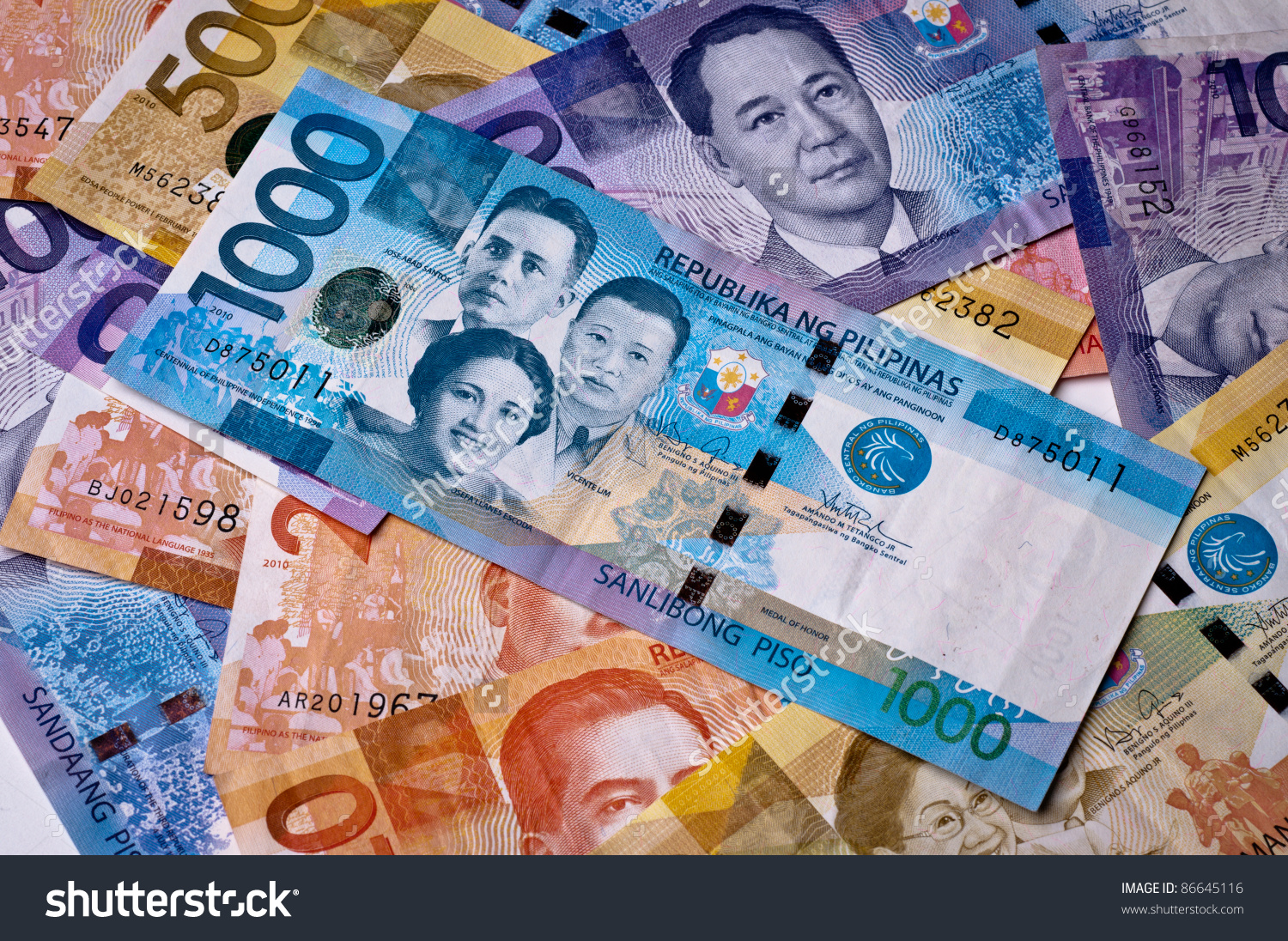 Philippine Currency 2010 Issue Various Denominations Stock Photo.