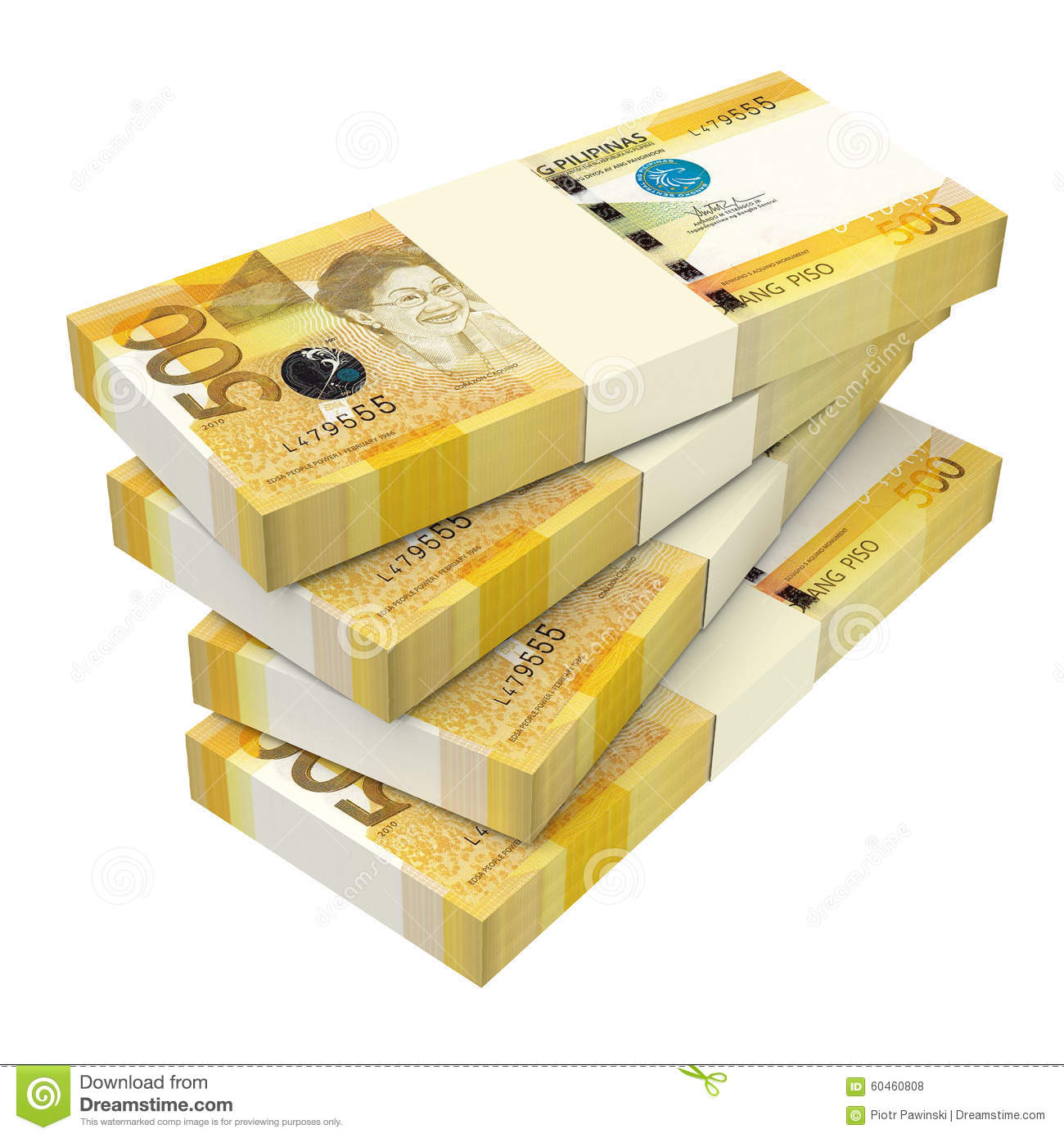 Philippines Money Isolated On White Background. Stock Illustration.