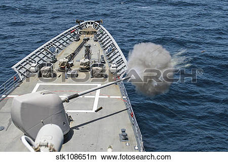 Stock Photo of USS Philippine Sea fires its Mk.