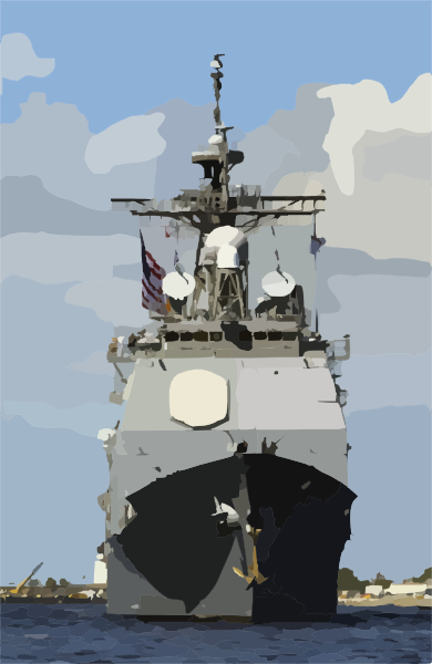 Guided Missile Cruiser Uss Philippine Sea (cg 58) Departs From Its.