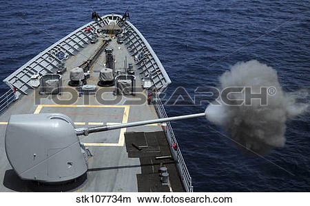 Stock Photo of USS Philippine Sea fires its MK 45 5.