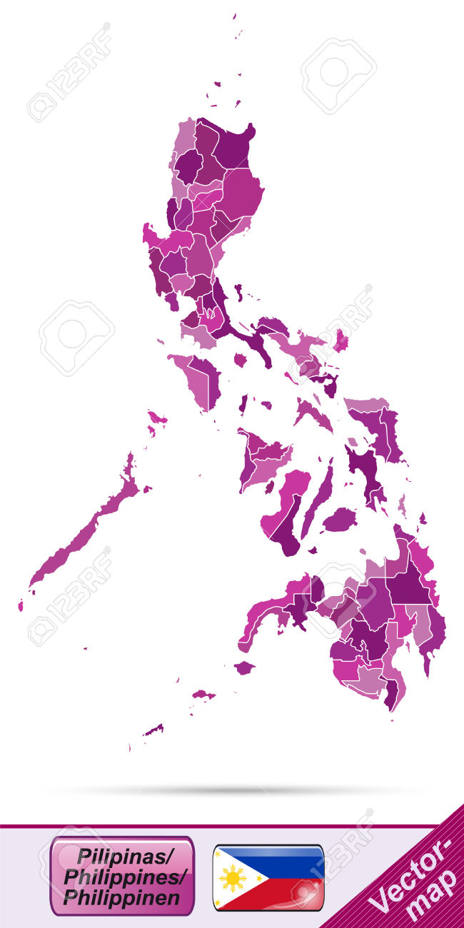 Map Of Philippines With Borders In Violet Royalty Free Cliparts.