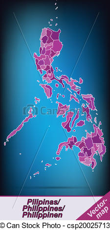 Vector Clip Art of Map of philippines with borders in violet.