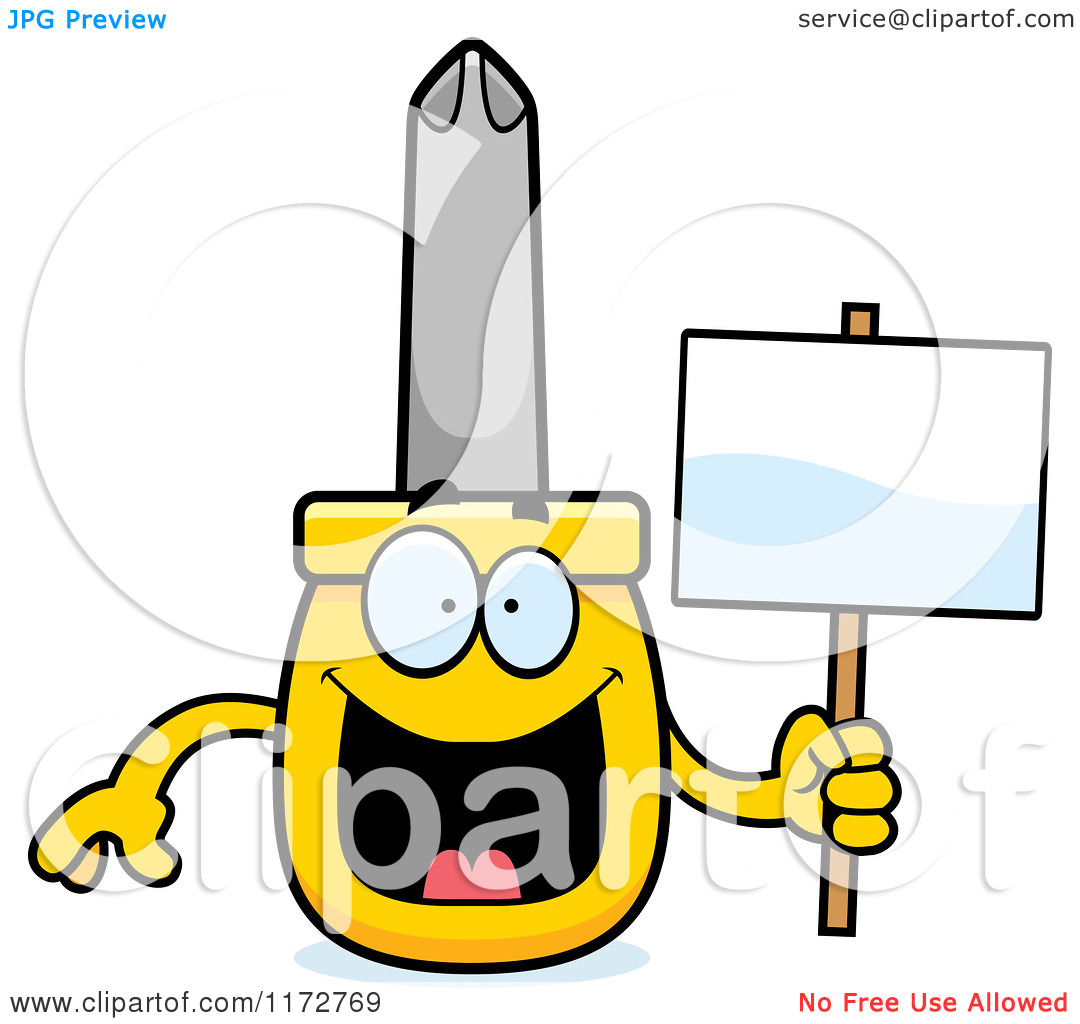 Cartoon of a Happy Philips Screwdriver Mascot Holding a Sign.