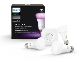 Philips Hue White and Color Ambiance A19 Starter Kit.