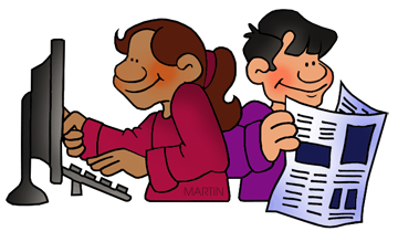 Free Students Reading Clip Art by Phillip Martin.