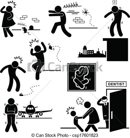 Vector Illustration of People Phobia Fear Scared Afraid.