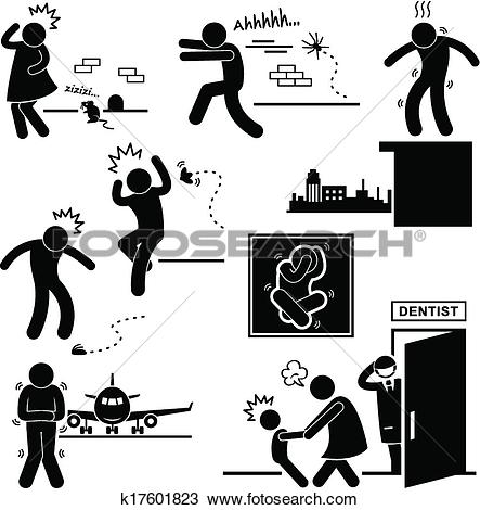 Clipart of People Phobia Fear Scared Afraid k17601823.