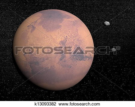 Clip Art of Mars planet and Deimos and Phobos satellites.