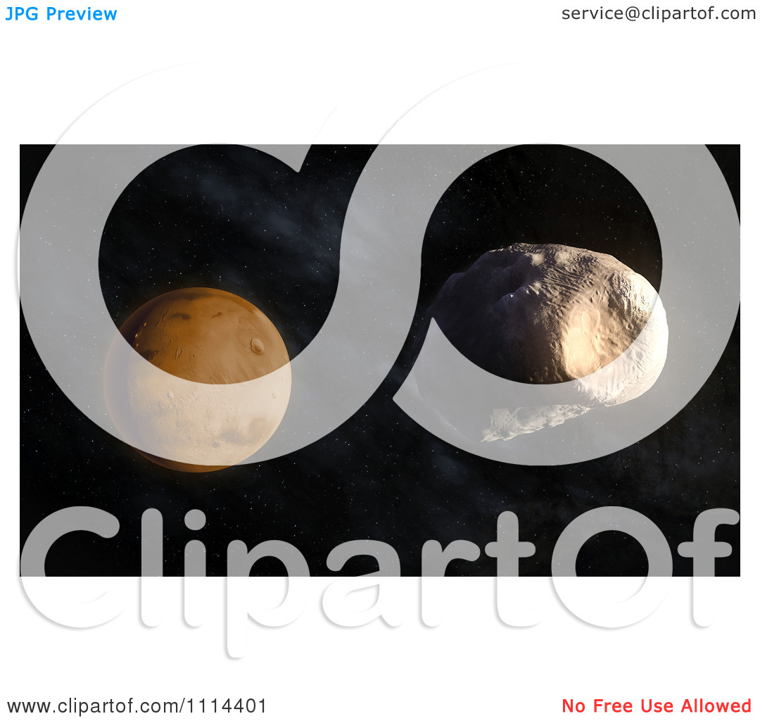 Clipart 3d Mars' Larger Moon Phobos With Stickney Crater Visible.