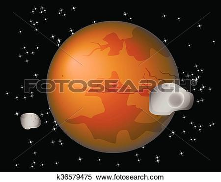 Clipart of Abstract background with Mars Planet and its moons.