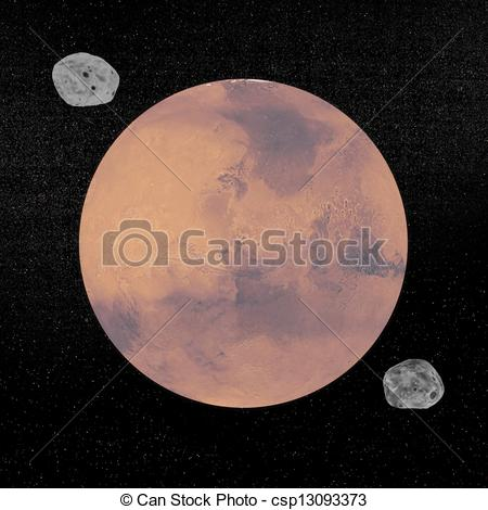 Stock Illustrations of Mars planet and Deimos and Phobos.