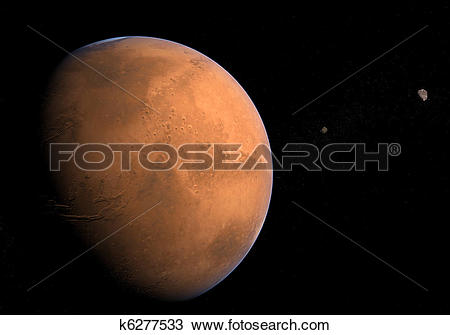 Drawing of Mars with Moons.