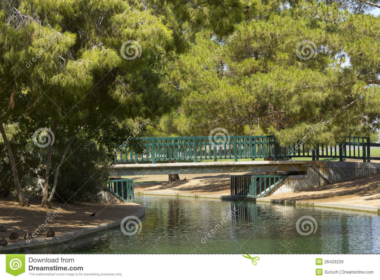 Walking Bridge At Cortez Lake, Phoenix, AZ Royalty Free Stock.