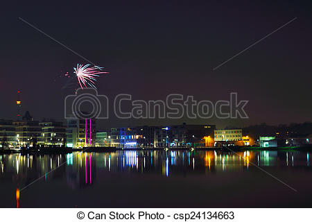 Stock Image of Fireworks at phoenix lake at night.