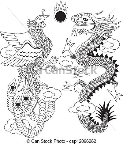 Vector of Dragon and Phoenix with Clouds Outline Illustration.