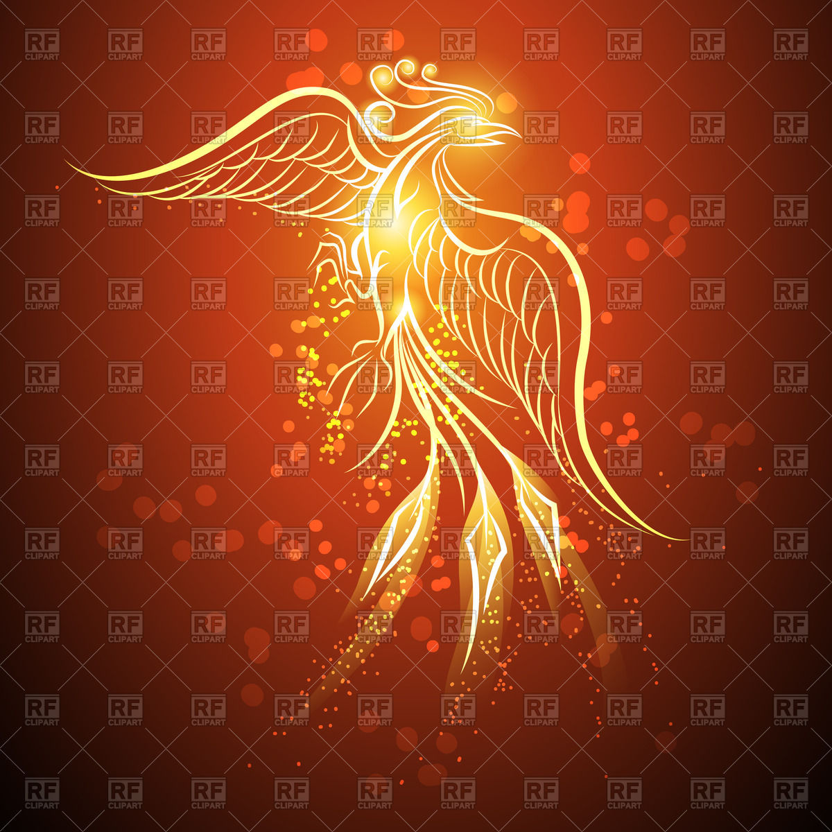 Outline of phoenix on red background Vector Image #60542.