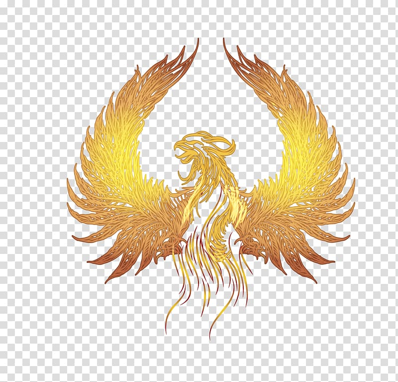 Phoenix illustration, Fenghuang Google s, golden wings of.